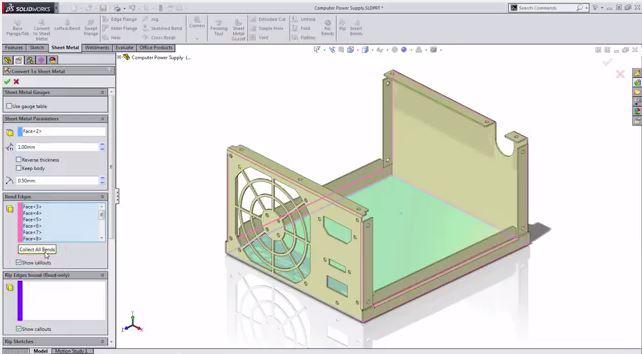 Chuyển đổi mô hình khối sang kim loại tấm trong SolidWorks